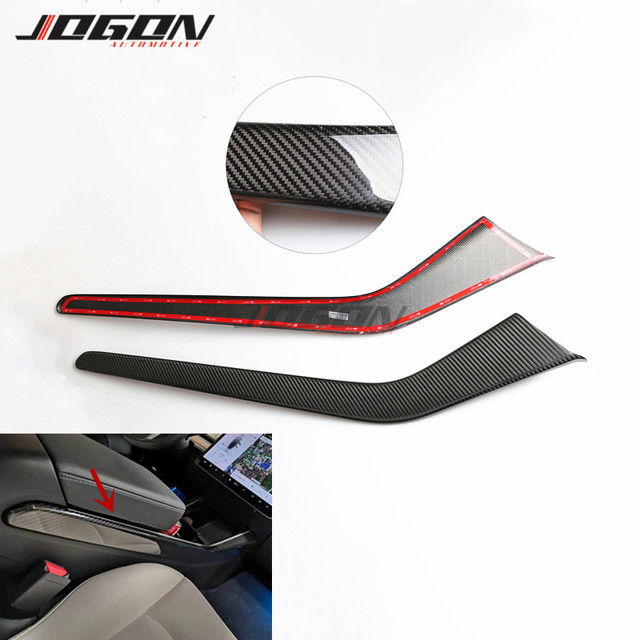 Matte & Glossy Carbon For Tesla Model 3 2017  2020 Car Central Console Side Panel Trim Decoration Anti scratch