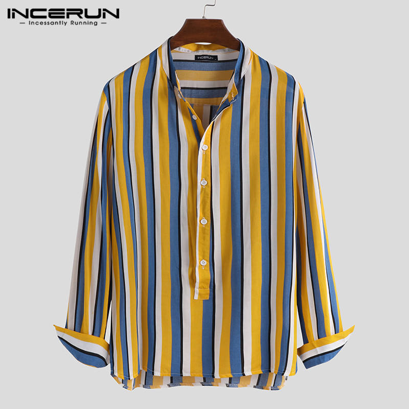 2020 Men Long Sleeve Shirt Striped Breathable Stand Collar Fashion Camisa Chic Button Brand Casual Shirts Mens Clothing INCERUN