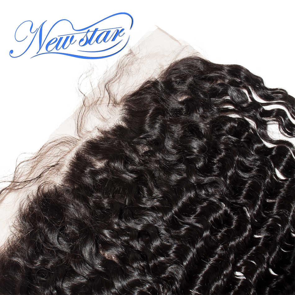 Новая звезда Кружева Фронтальная 13x6 глубокая волна бразильские девственные человеческие волосы уха к уху отбеленные узелки на парике на сетке предварительно сорвал с волосами младенца