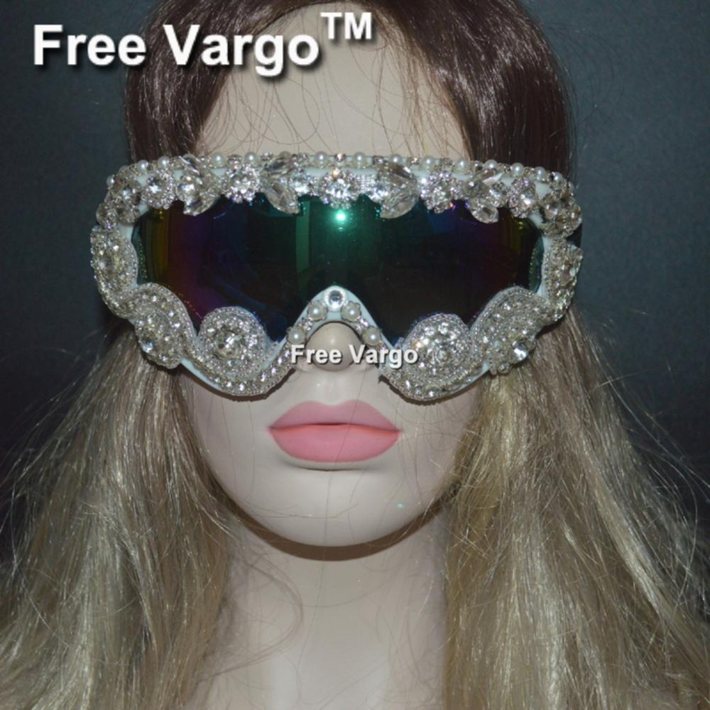 Holographic White Crystal Burning Man Goggles Glasses, Cyber Goggles Stage EDM EDC Rave Costumes Headpiece