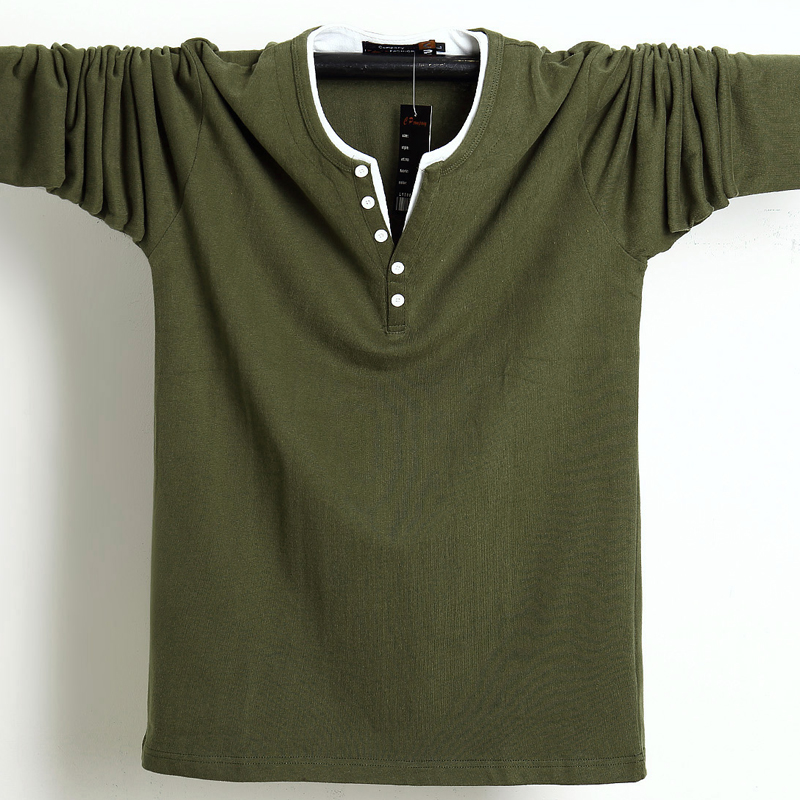 2019 Autumn Men T Shirt Button Big Tall Cotton Long Sleeve T Shirts Men Big Size Casual T-Shirt Solid 5xl 6xl Fit Tee Top Male