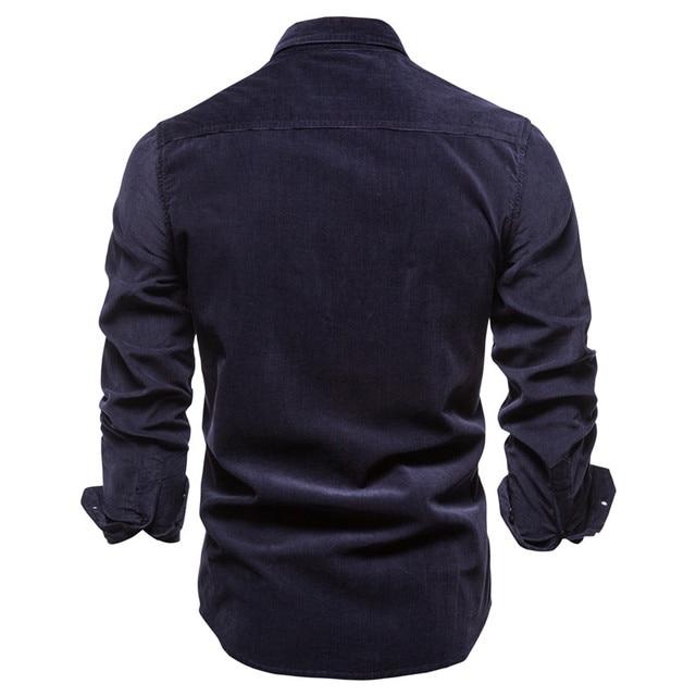2020 New Single Breasted 100% Cotton Men's Shirt Business Casual Fashion Solid Color Corduroy Men Shirts Autumn Slim Shirt Men 3