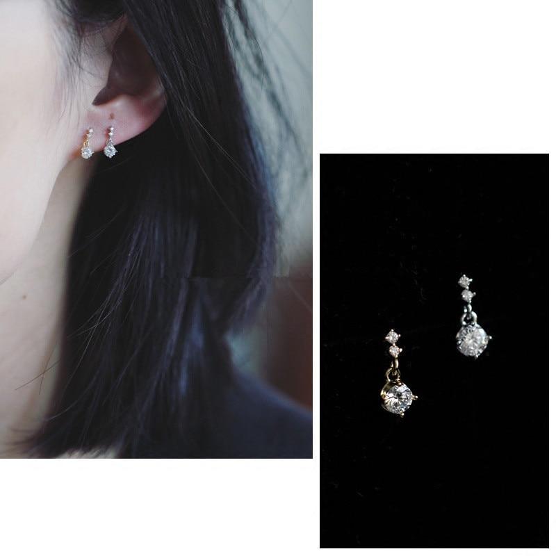 925 Sterling Silver Simple Diamond Earrings Women 14k Gold Plating Korean Temperament Wedding Jewelry Accessories