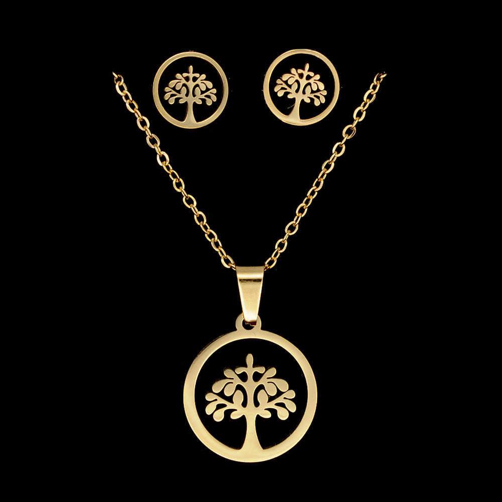 100% нержавеющая сталь PVD золото заполненная жизнь дерева сердце серьги ожерелье ювелирный набор 45 см ожерелья с кулоном, оптом