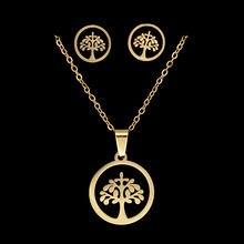 100% Stainless Steel PVD Gold Filled Life of Tree Heart Earring Necklace Jewelry Set 45cm Pendant Necklaces Wholesale(China)