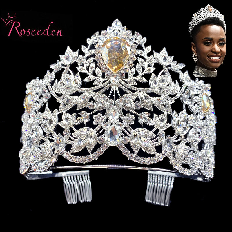 Hot actual size Miss Universe Pageant Crown rhinestone pearls feather full circle round big Crowns tiaras RE484C