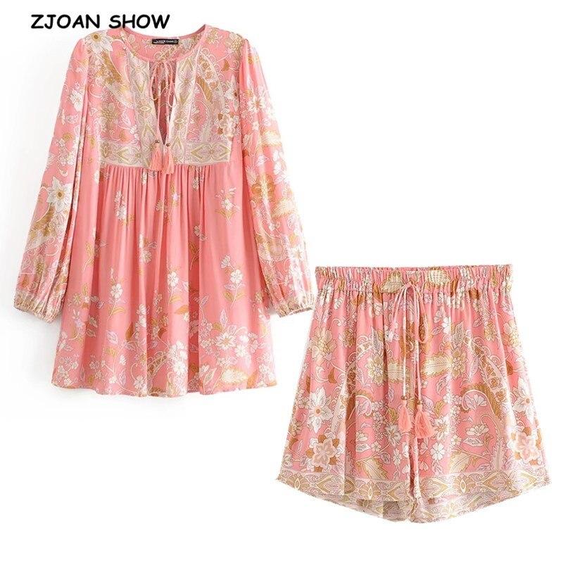 2020 Bohemian Lacing Up Tassel Floral Shirt BOHO Women Elastic Waist Mini Short Shorts Long Sleeve Blouse Holiday 2 Pieces Set
