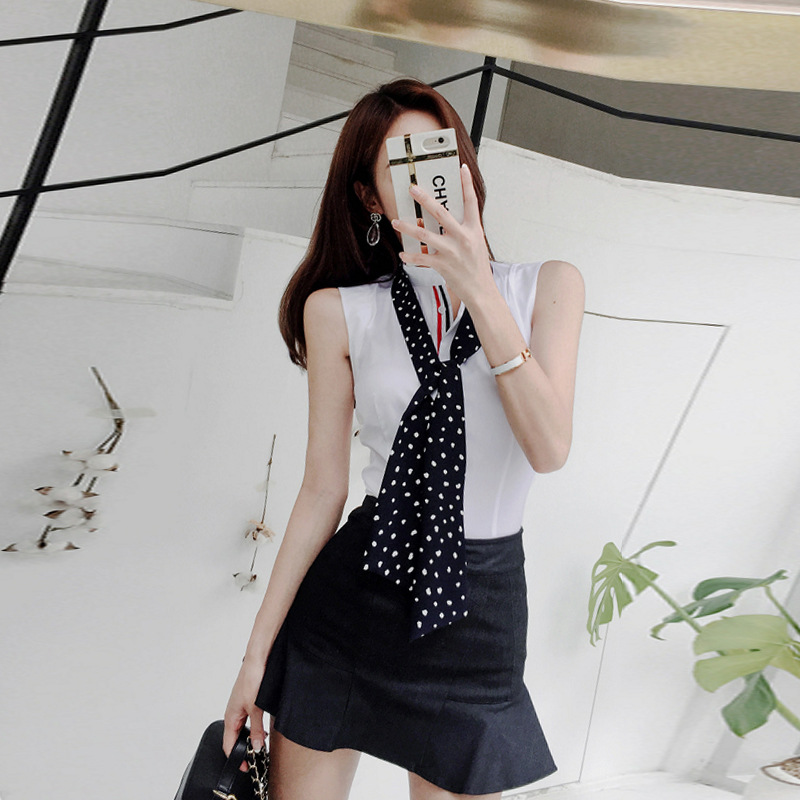 WOMEN'S Suit 2019 Summer New Products Korean-style Elegant Sleeveless Shirt Waist Hugging Sheath Flounced Skirt Two-Piece Set