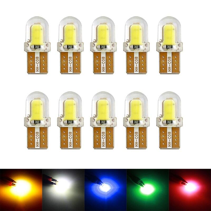 10 шт. светодиодный светодиод T10, W5W, 194, 168, W5W, COB, 8SMD, светодиодсветодиодный парковочная лампа, автомобильная лампа с клиновидным цоколем, лампо...
