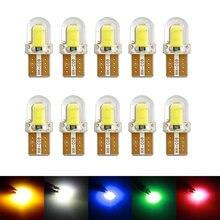10 pçs t10 led w5w 194 168 w5w cob 8smd led estacionamento lâmpada auto cunha lâmpada de folga sílica brilhante branco licença lâmpadas