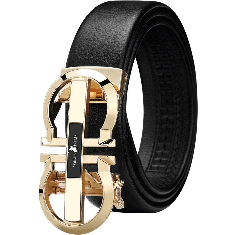 Brand Luxury Designer Leather Mens Genuine Leather Strap Automatic Buckle Waist Belt Gold Belt PL18335-36P-SMT
