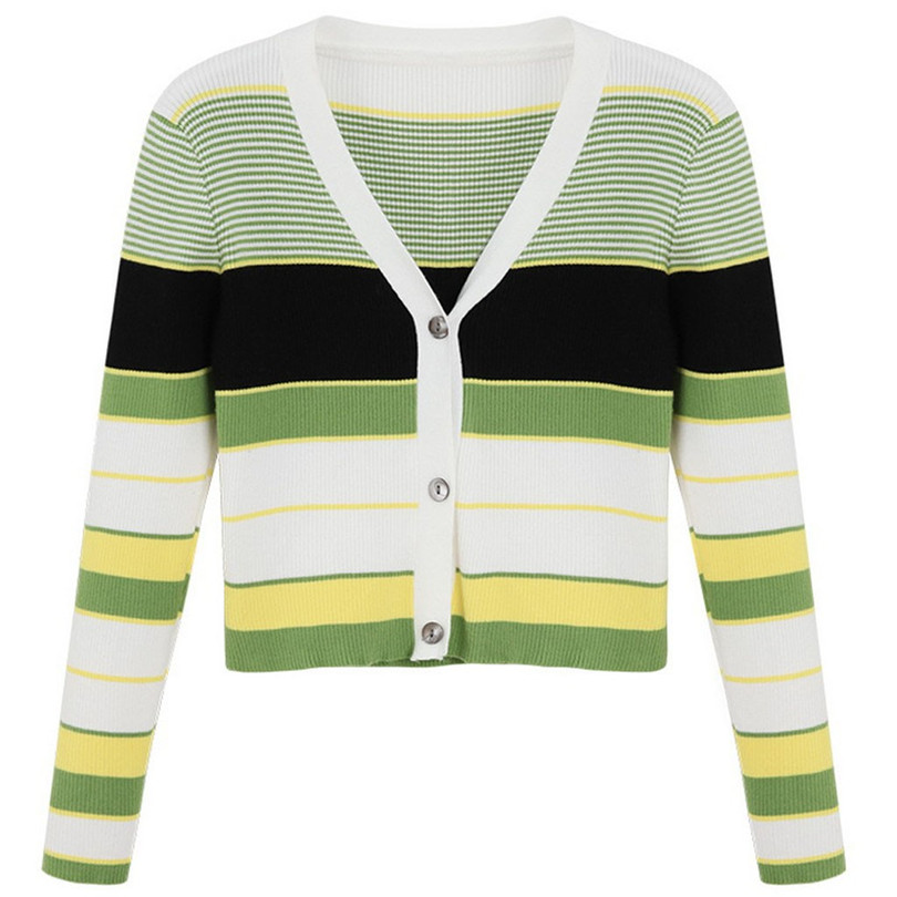 Striped Cardigan Women Ctop Top Long Sleeve Sweater V Neck Sexy Cardigan Knitting One Size Pull Femme Nouveaute 40OCT1614