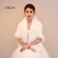 Bride Wedding Wrap Bolero Jackets Bridal Coats Shawls Scarves Elegant Soft Autumn Winter Faux Fur PJ063