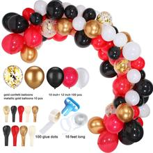 METABLE 110 PCS Balloon Arch Garland Red Black White Chrome Gold Confetti Balloons for Wedding Hen Night Halloween Party
