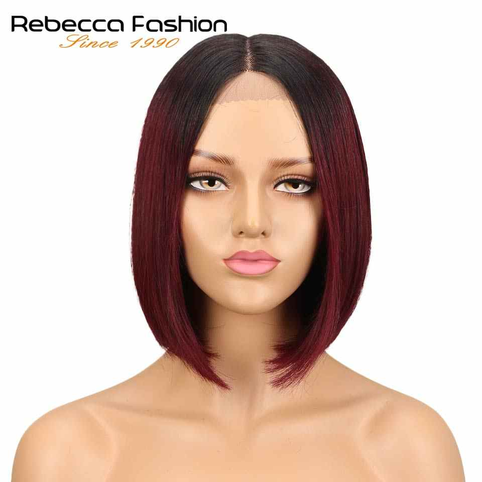 "Rebecca bob lace front wigs For Black Women Peruvian short human hair wigs ombre human hair wig Middle Part 10"" Free Shipping"