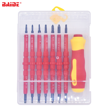 With Retail Box Red 8 in 1 Safety Insulating Screw Driver Insulated Screwdriver Kit PH0 Ph1 T10 T15 Y2 Trilateral Hot Sale