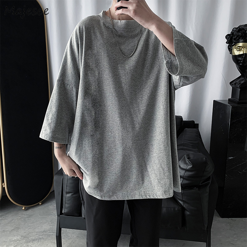 Men Three Quarter Sleeve T-shirts Basic All-match Korean Harajuku Streetwear Casual Breathable Streetwear Loose Male/women Tees