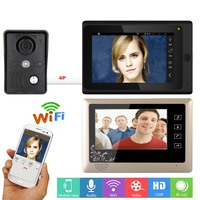 GAMWTER 7 inch 2 Monitors Wireless Wifi Video Door Phone Doorbell Intercom System with IR CUT HD 1000TVL Wired Camera