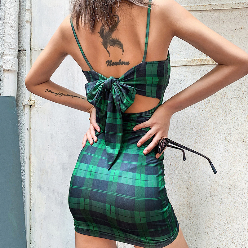 Bangniweigou Retro Plaid Mini Dress Women 90s Street Spaghetti Strap Grid Summer Dress 2019 Checked Sundress Party Short Sheath 5