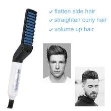 Multifunctional Beard Straightener Hair Comb Brush Beard Straightener Hair Straightening Comb Hair Curler Hair Styler For Men