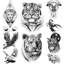 Временные татуировки для мужчин и женщин, реалистичные тигры, Черные Животные, Сова, Лев, король, лось, имитация татуировки, Орл, Детские тату...