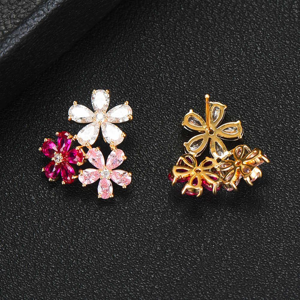 GODKI ดอกไม้ Charms Multicolor Cubic Zircon ต่างหูผู้หญิงอินเทรนด์ฝังรูปร่างวงกลมเกาหลีต่างหู Boucle d'oreille