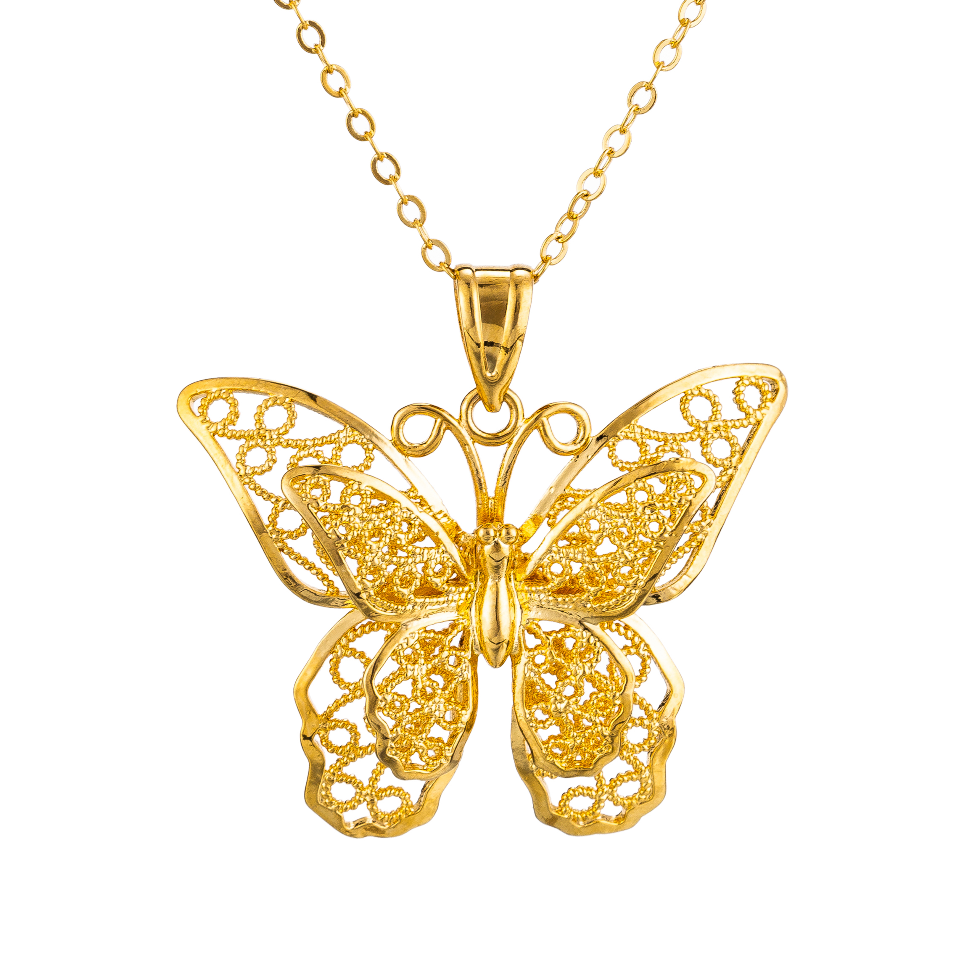Gold Color Big Butterfly Pendant Necklace for Women Girls Hollow Layered Butterfly Link Chain Wedding Birthday Gifts