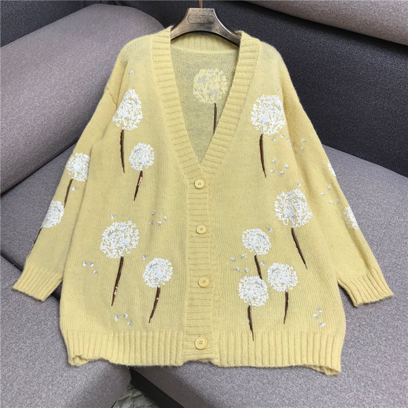 Luxury Designer Brand Knitted Sweater For Women Vintage V Neck Dandelion Sequined Embroidery Loose Knitted Cardigans Sweater