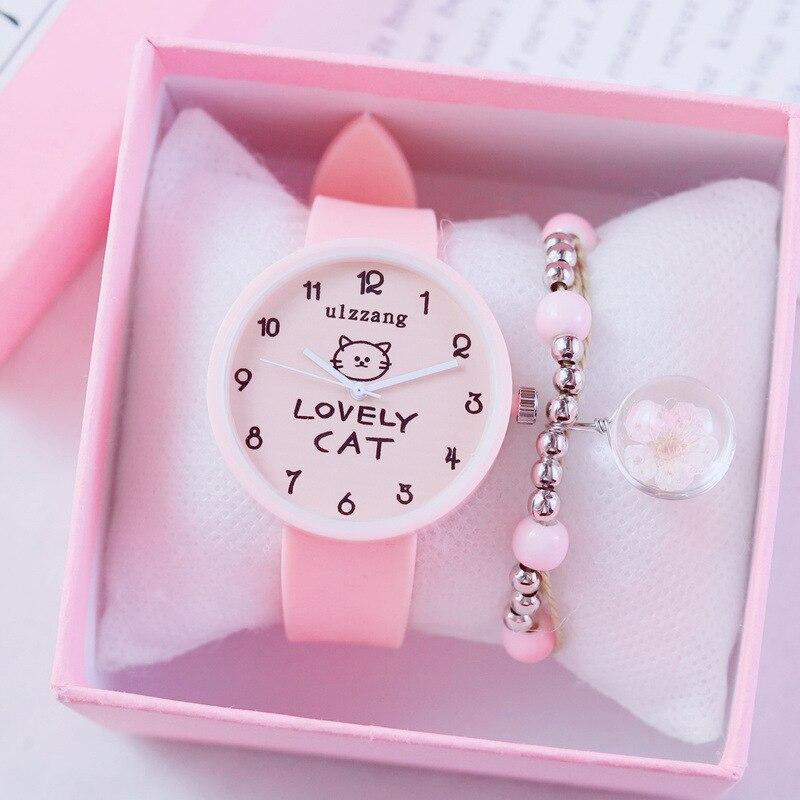 Sunny Children Great Watch Girls Cute Clocks Soft Junior High School Students Sport Wristwatch Small Fresh Watches Lady Clock