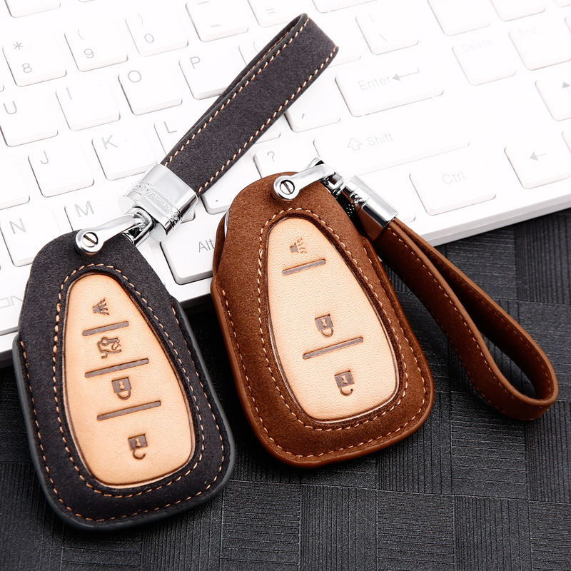 High quality leather Car Key Cover Case For <font><b>Chevrolet</b></font> Cruze <font><b>Spark</b></font> Camaro Volt Bolt Trax Malibu 2016 <font><b>2017</b></font> 2018 2020 Accessories image