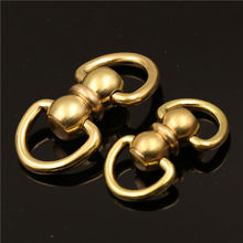 1 x Solid Brass Swivel Eye Rotating Connector Double End D ring for Keychain Key Ring Wallet Fob Clip connecting