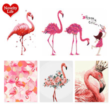 Flamingo Animals Abstract Diy Digital Canvas Painting By Numbers Modern Wedding Wall Art Picture For Home Decoration Child Gift(China)