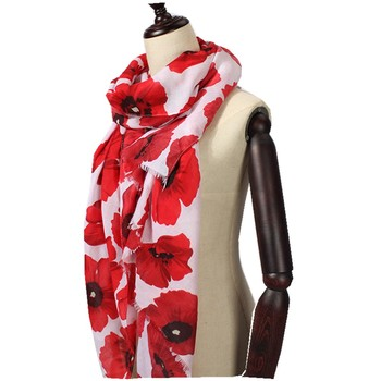 New Women Cotton Scarf Poppy Scarf Lady Flower Print Shawls And Scarves Wrap Hijab Free Shipping casual poppy print voile scarf