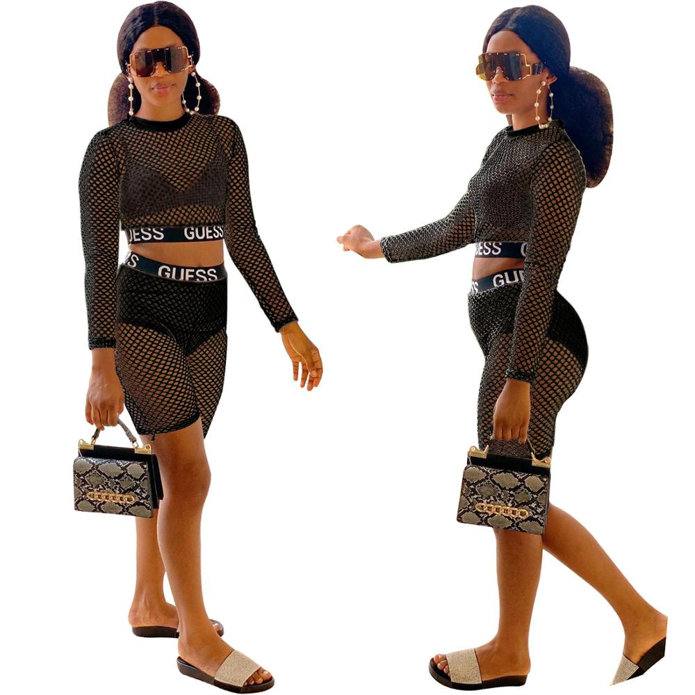 Mesh Two-Piece Women 2 Piece Sets Outfits Ladies Two Piece Short Crop Top And Shorts Set