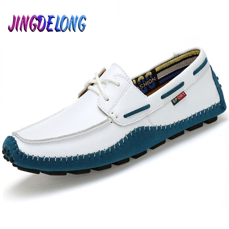 Men Casual Shoes Big Size Genuine Leather Men Shoes Soft Moccasins Brand Men Flats Comfy Driving Boat Shoes 38-47