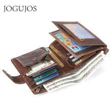 JOGUJOS Crazy Horse Leather Mens Wallet Genuine Men Business Card Id Holder Coin Purse Travel wallet For Man