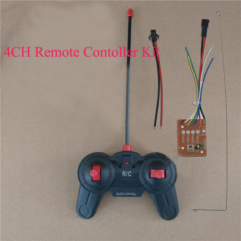 1Set DIY Toy Car Boat Accessories 4CH 27MHZ Remote Controller+Receiver Board+Antenna Kit Control Distance 30-40meters For RC Car