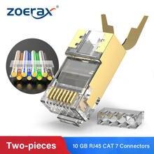 Zoerax rj45 cat7 & cat6a двухкомпонентные Разъемы 8p8c 50u позолоченный