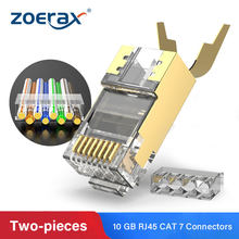 Zoerax rj45 cat7 & cat6a conectores de duas peças 8p8c 50u ouro blindado ftp/stp | conector de cabo de rede conector rj45