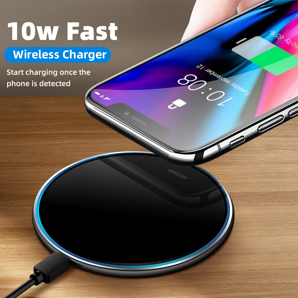 10W Metal Wireless Charger Fast Phone Charging Desktop Wireless Charger Fully Compatible For iPhone iPad Samsung S10 S9 Xiaomi