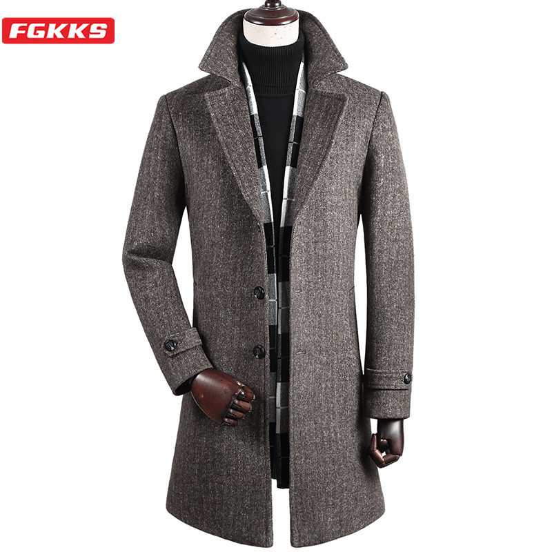 FGKKS Winter New Wool Blend Coat Men Brand Men's Fashion With Scarf Overcoat Trendy Long Section Wool Coats Male Clothing