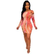 LOOZYKIT 2019 New Women European And American Style Dress O-Neck Print Long Sleeve Sheath Dresses Sexy Womens Clothing