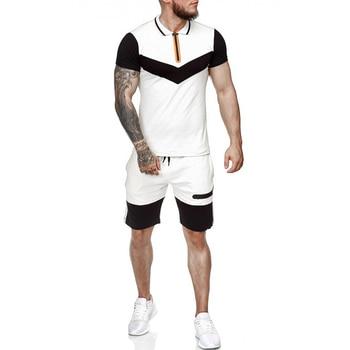 Summer Men Set Sportswear Short Sleeve + Casual Short 2 Piece Set  Thin Track Suits 2020 Mens Fitness Running Sport Sweat Suit 4