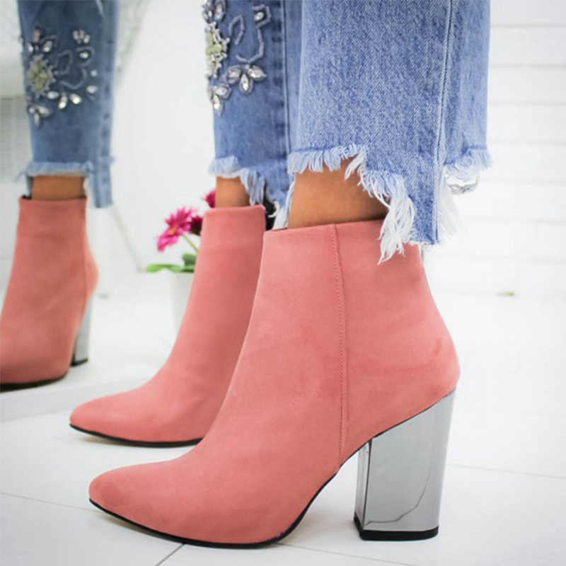 MCCKLE Frauen Herbst Zip Stiefeletten Frauen Spitz Flock Fashion Chunky High Heels Grund Casual Weibliche Mode Damen Schuhe