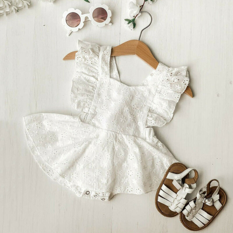 Pudcoco 2PCS Newborn Toddler Baby Girl Clothes Lace Romper Dress Floral Jumpsuit Outfits