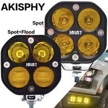 AKISPHY LED Driving Light 40W Car Headlight Truck Work Lamp Fog Motorcycle 12V 24V White Yellow SUV Spot Flood Beam Off Road