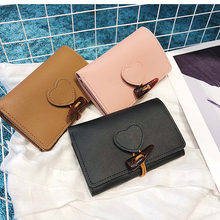 Fashion solid soft PU wallet love horn buckle wallet women fold hasp purse clutch bag card wallet purses wallets for women 2020 new fashion women wallets pu leather zipper wallet women s long purse two fold clutch card bag casual hasp dollar price wallet