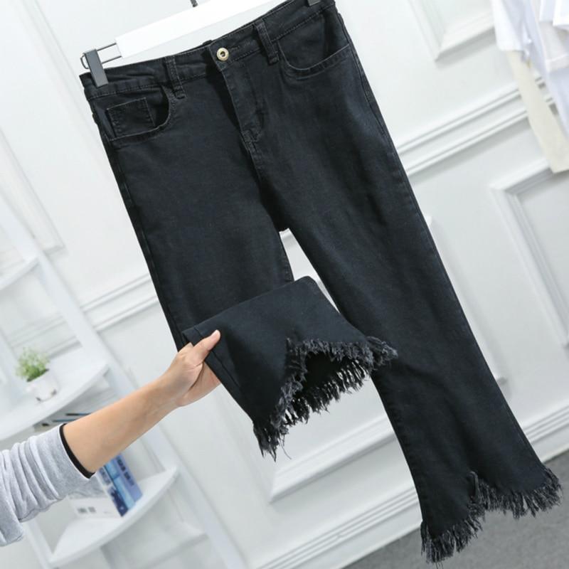 Flare Jeans For Women Denim Capri Pants 2020 Spring Summer High Waist Tassel Mon Jeans Black Blue Plus Size 5XL