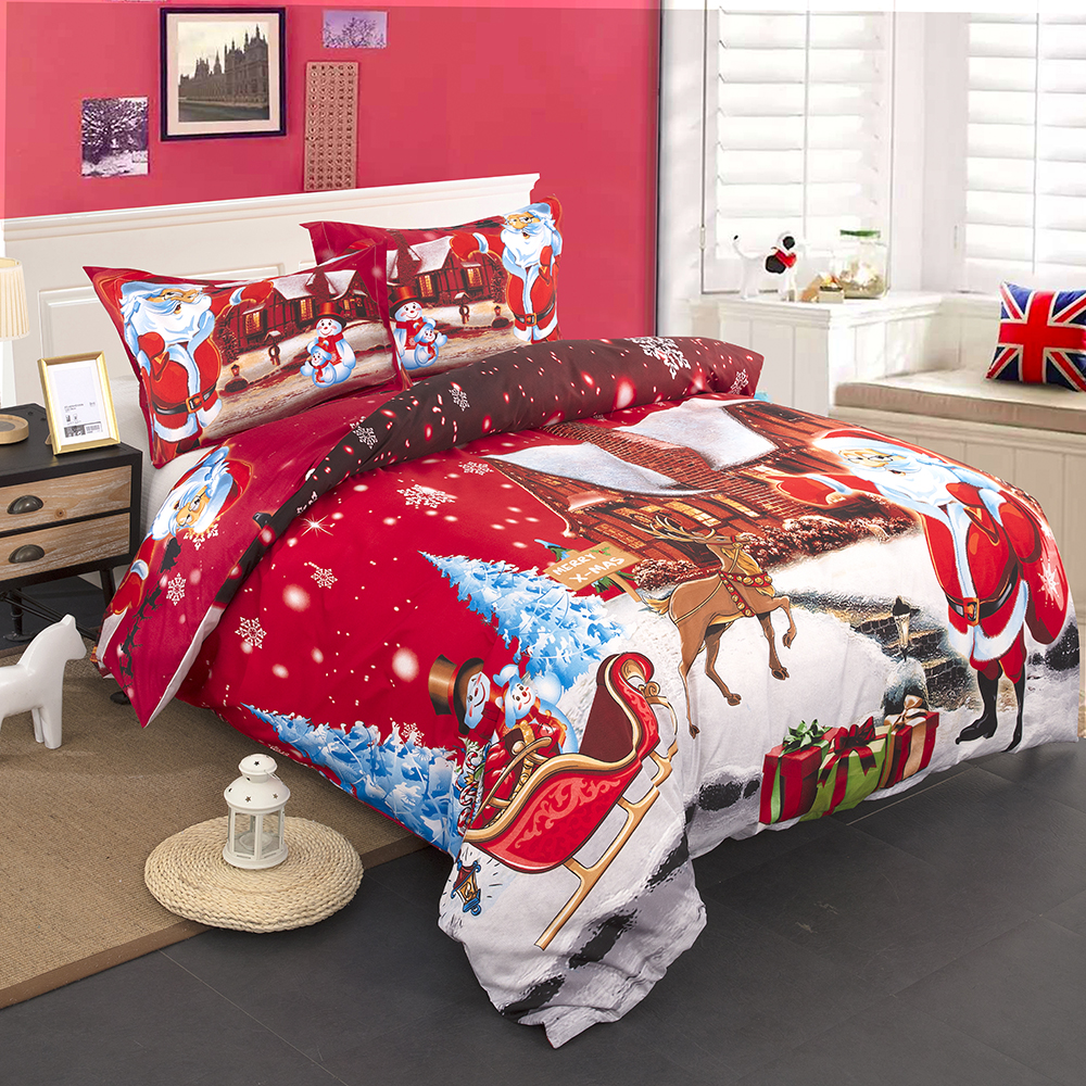 High Quality 100% Polyester Christmas Gift 3Pcs Christmas Bedding Set Duvet Cover Pillowcase Twin Full Queen King