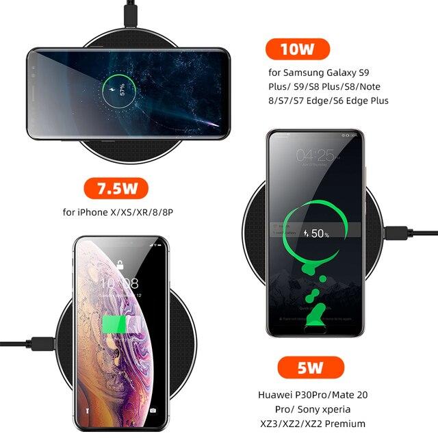 10 w rápido carregador sem fio para samsung galaxy s10 s9 s8 usb qi carga rápida 3.0 almofada de carregamento para iphone 11 pro xs max xr x 8 mais